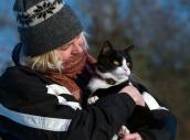 Pixie och matte i vinterväder